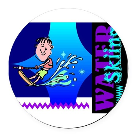 waterski.png Round Car Magnet