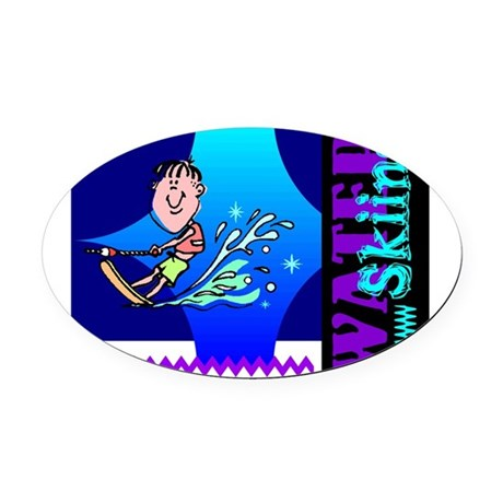 waterski.png Oval Car Magnet