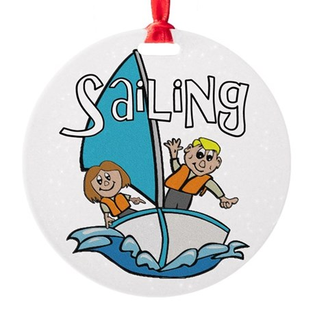 2-sailing.png Round Ornament