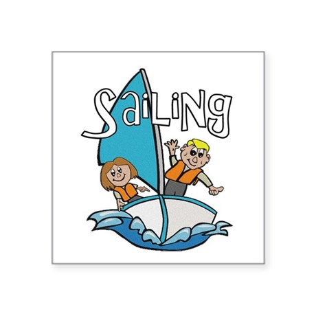 "2-sailing.png Square Sticker 3"" x 3"""