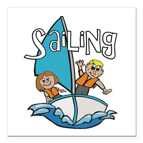 "2-sailing.png Square Car Magnet 3"" x 3"""