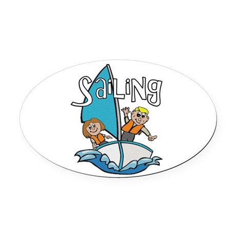 2-sailing.png Oval Car Magnet