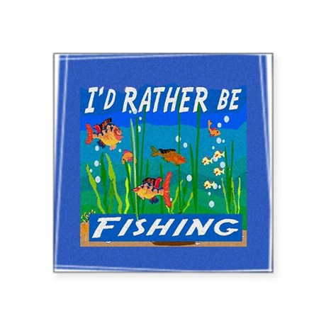 "Fishing Square Sticker 3"" x 3"""
