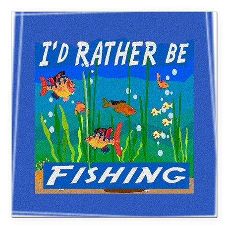"Fishing Square Car Magnet 3"" x 3"""