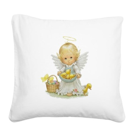 Easter Angel Square Canvas Pillow