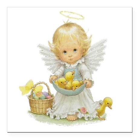 "Easter Angel Square Car Magnet 3"" x 3"""
