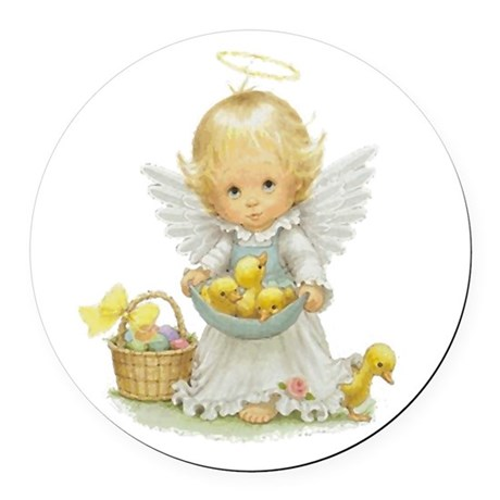 Easter Angel Round Car Magnet