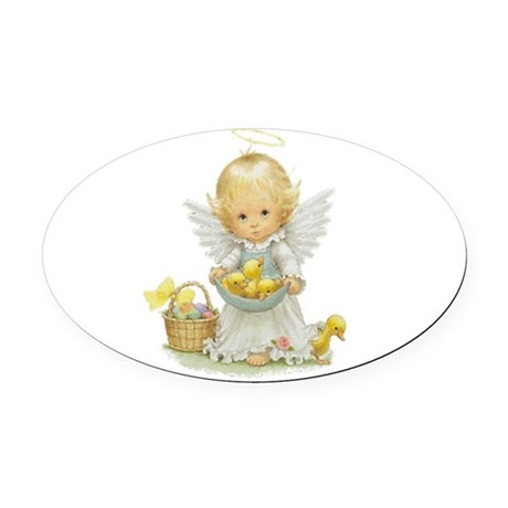 Easter Angel Oval Car Magnet