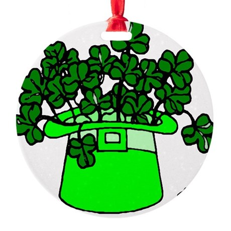 shamrocks2.png Round Ornament