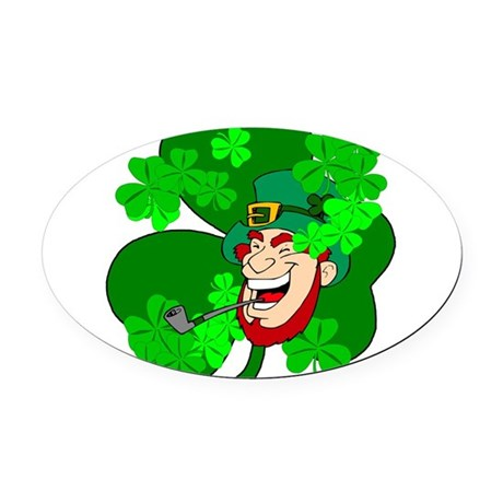 shamrock3b.png Oval Car Magnet