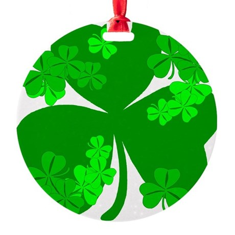 shamrock3a.png Round Ornament