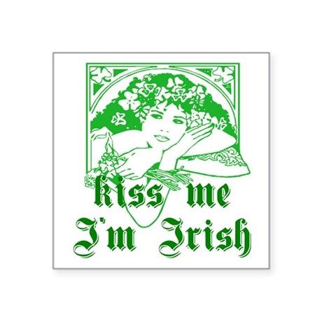 irishgirl2a.png Square Sticker 3&quot; x 3&quot;