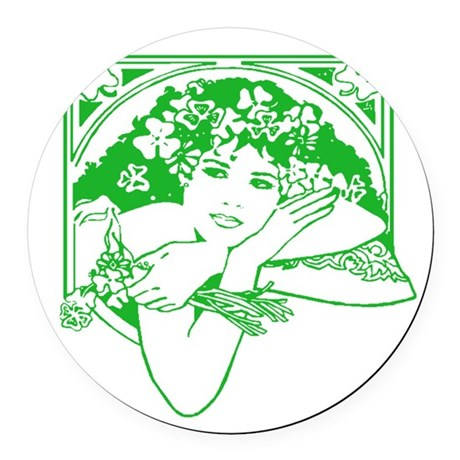 irishgirl.png Round Car Magnet