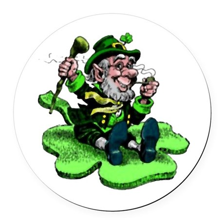 leprechaun Round Car Magnet