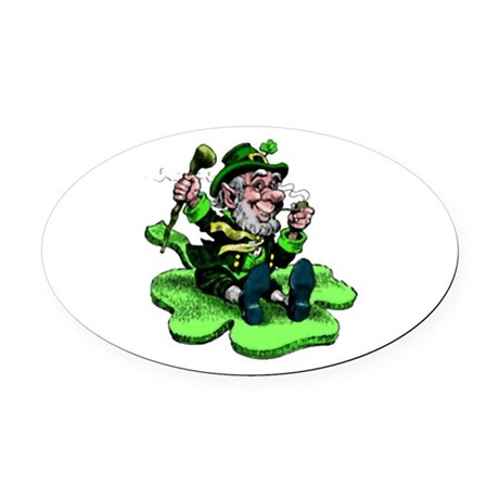 leprechaun Oval Car Magnet