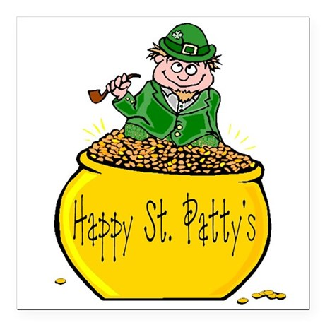 "Pot of Gold Square Car Magnet 3"" x 3"""