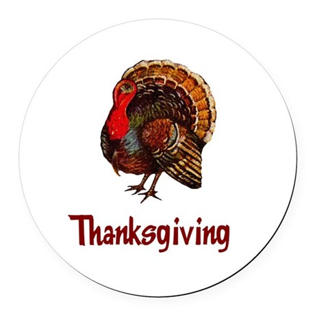turkey2b.png Round Car Magnet