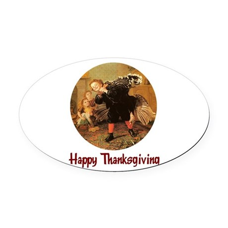turkey3b.png Oval Car Magnet