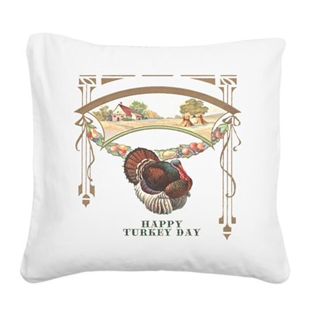 turkey3blk.png Square Canvas Pillow