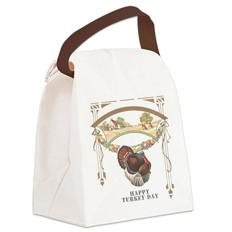 turkey3blk.png Canvas Lunch Bag