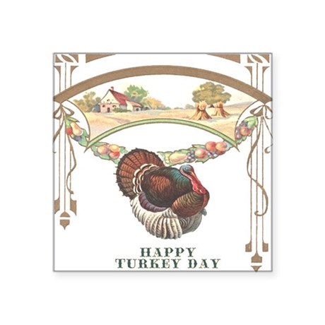 "turkey3blk.png Square Sticker 3"" x 3"""