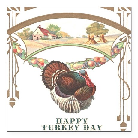 "turkey3blk.png Square Car Magnet 3"" x 3"""