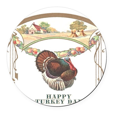 turkey3blk.png Round Car Magnet