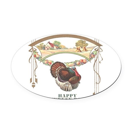 turkey3blk.png Oval Car Magnet