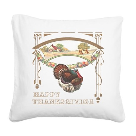 turkey2blk.png Square Canvas Pillow