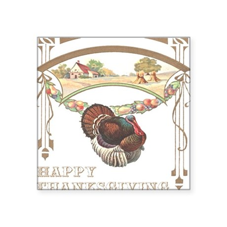 "turkey2blk.png Square Sticker 3"" x 3"""