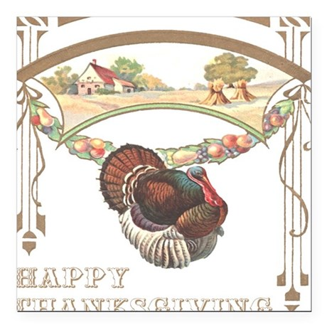 "turkey2blk.png Square Car Magnet 3"" x 3"""