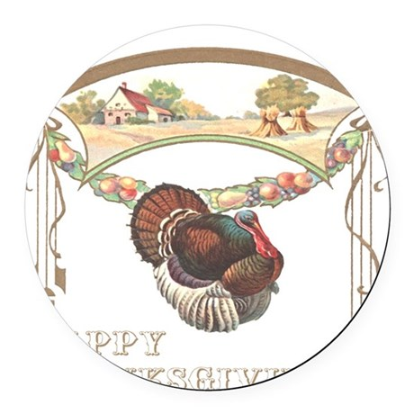 turkey2blk.png Round Car Magnet