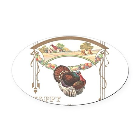 turkey2blk.png Oval Car Magnet