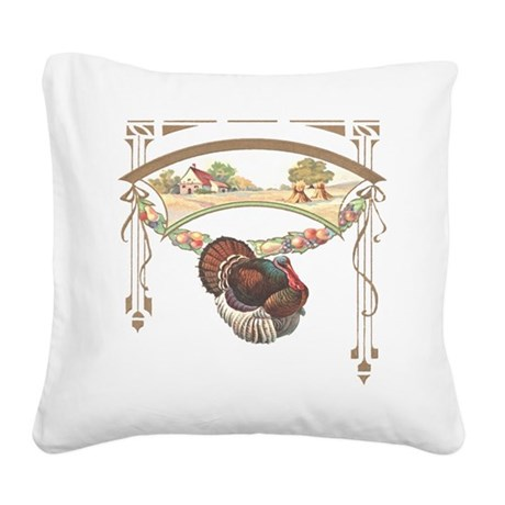 turkeyblk.png Square Canvas Pillow