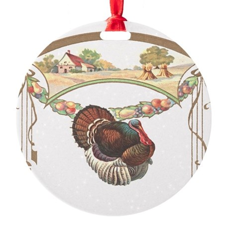 turkeyblk.png Round Ornament