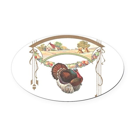 turkeyblk.png Oval Car Magnet