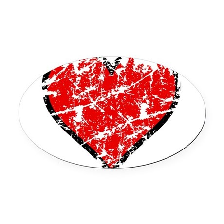 heart6a.png Oval Car Magnet