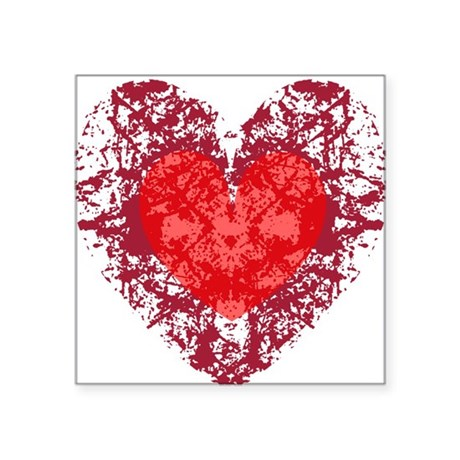 heart9a1.png Square Sticker 3&quot; x 3&quot;
