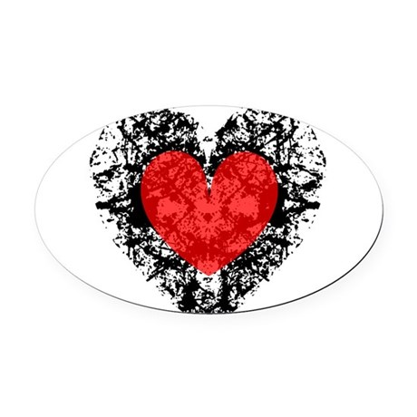 heart9a2.png Oval Car Magnet