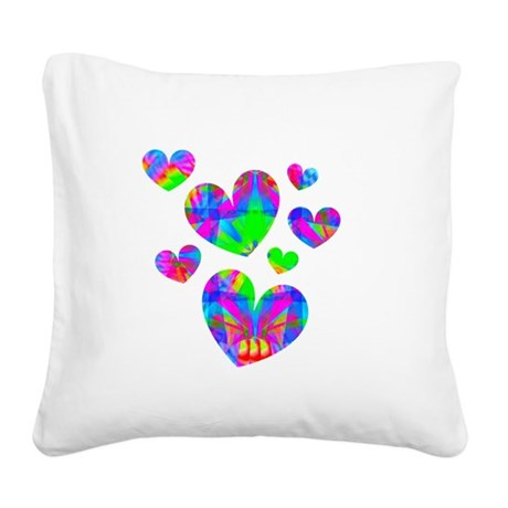 hearts5a.png Square Canvas Pillow