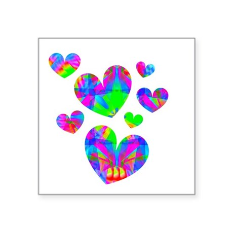 "hearts5a.png Square Sticker 3"" x 3"""