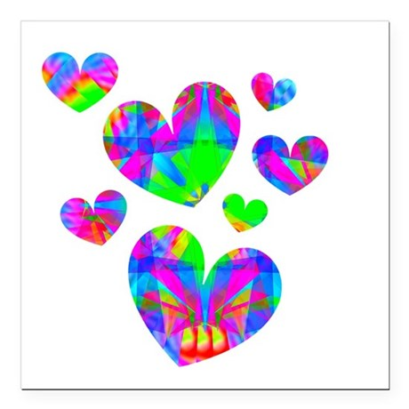 "hearts5a.png Square Car Magnet 3"" x 3"""