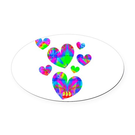 hearts5a.png Oval Car Magnet