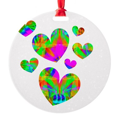 hearts5.png Round Ornament