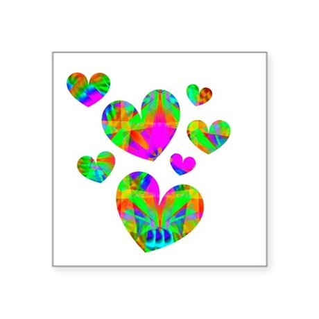"hearts5.png Square Sticker 3"" x 3"""