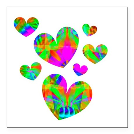 "hearts5.png Square Car Magnet 3"" x 3"""