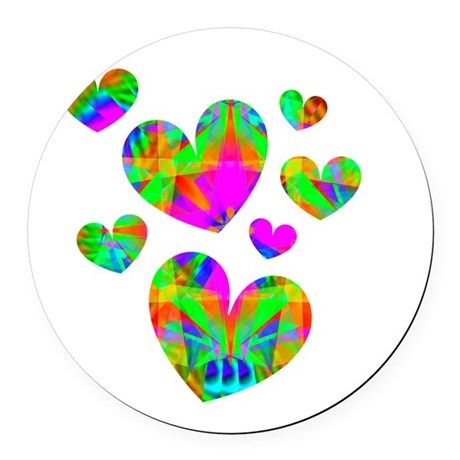 hearts5.png Round Car Magnet