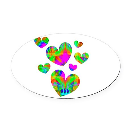 hearts5.png Oval Car Magnet
