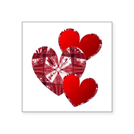 "heart9c.png Square Sticker 3"" x 3"""