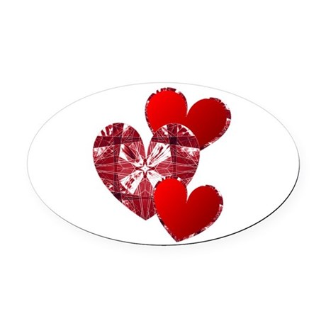 heart9c.png Oval Car Magnet